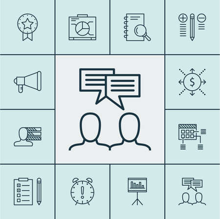 team discussion: Set Of Project Management Icons On Schedule, Time Management And Reminder Topics. Editable Vector Illustration. Includes Meeting, Team, Discussion And More Vector Icons.