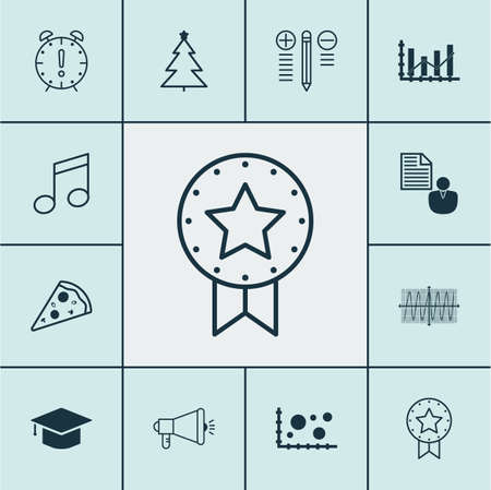 Set Of 12 Universal Editable Icons. Can Be Used For Web, Mobile And App Design. Includes Icons Such As Decision Making, Cosinus Diagram, Sliced Pizza And More.