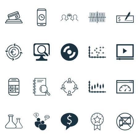 Set di 20 icone modificabili universali. Può essere utilizzato per Web, Mobile e App Design. Include icone come analisi, diagramma di stampa, lettore video e altro ancora.