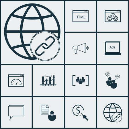 Ensemble d'icônes publicitaires sur la conférence, les médias numériques et les sujets de performance du site Web. Illustration vectorielle modifiable Comprend Performance, Per, Consulting et plusieurs icônes vectorielles.