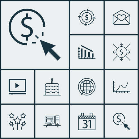 burning money: Set Of 12 Universal Editable Icons. Can Be Used For Web, Mobile And App Design. Includes Icons Such As Computer, Celebration Cake, Fail Graph And More.