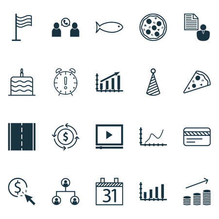 ppc: Set Of 20 Universal Editable Icons. Can Be Used For Web, Mobile And App Design. Includes Icons Such As Celebration Cake, Time Management, PPC And More. Illustration