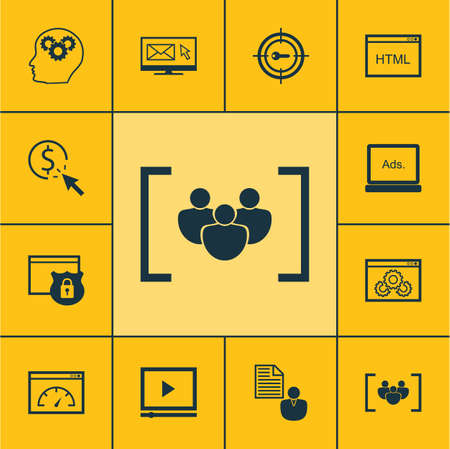 secured: Set Of SEO Icons On Brain Process, Newsletter And Video Player Topics. Editable Vector Illustration. Includes Marketing, Brief, Client And More Vector Icons.