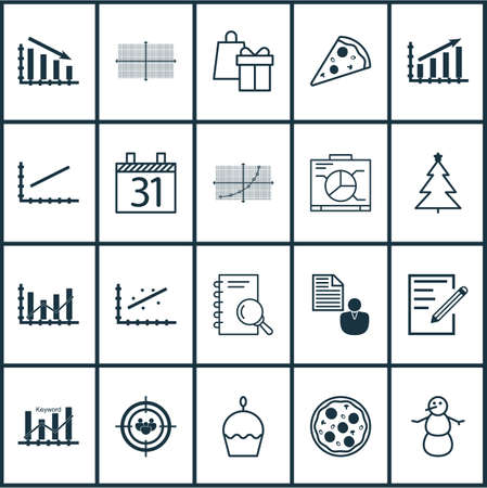 growth hot: Set Of 20 Universal Editable Icons. Can Be Used For Web, Mobile And App Design. Includes Icons Such As Fail Graph, Birthday Cake, Profit Graph And More.