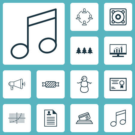 crotchets: Set Of 12 Universal Editable Icons. Can Be Used For Web, Mobile And App Design. Includes Icons Such As Certificate, Sweet, Crotchets And More.