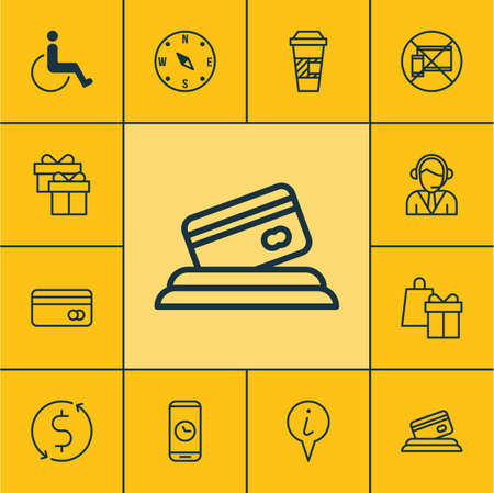 tour operator: Set Of Airport Icons On Shopping, Money Trasnfer And Forbidden Mobile Topics. Editable Vector Illustration. Includes Credit, Pointer, Coffee And More Vector Icons.