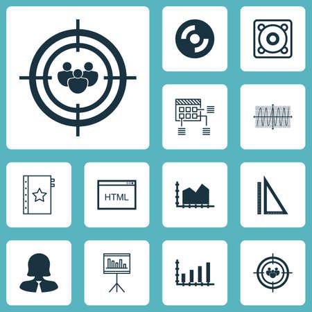 Set di 12 icone modificabili universali. Può essere utilizzato per Web, Mobile e App Design. Include icone come diagramma Cosinus, misurazione, musica e altro ancora.