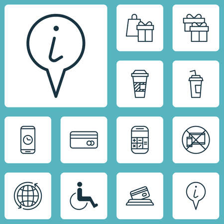 infirm: Set Of Travel Icons On Accessibility, Credit Card And Drink Cup Topics. Editable Vector Illustration. Includes Info, Disabled, Map And More Vector Icons. Illustration