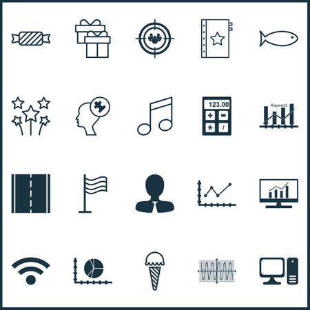Set Of 20 Universal Editable Icons. Can Be Used For Web, Mobile And App Design. Includes Icons Such As Sinus Graph, Fishing, Desktop Computer And More.