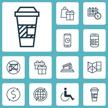 Set Of Travel Icons On Takeaway Coffee, Credit Card And Calculation Topics. Editable Vector Illustration. Includes Present, Time, Coffee And More Vector Icons.