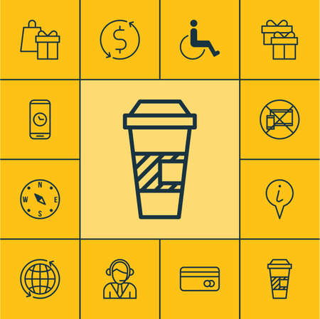 paralyzed: Set Of Traveling Icons On Locate, Takeaway Coffee And Operator Topics. Editable Vector Illustration. Includes Coffee, Dollar, Paralyzed And More Vector Icons. Illustration