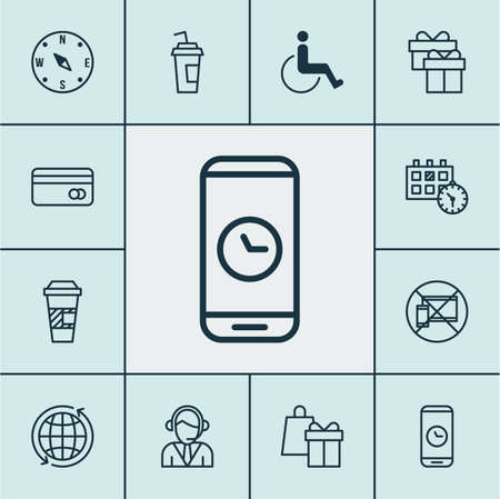 telemarketer: Set Of Traveling Icons On Appointment, Call Duration And Drink Cup Topics. Editable Vector Illustration. Includes Center, Cup, Mobile And More Vector Icons. Illustration