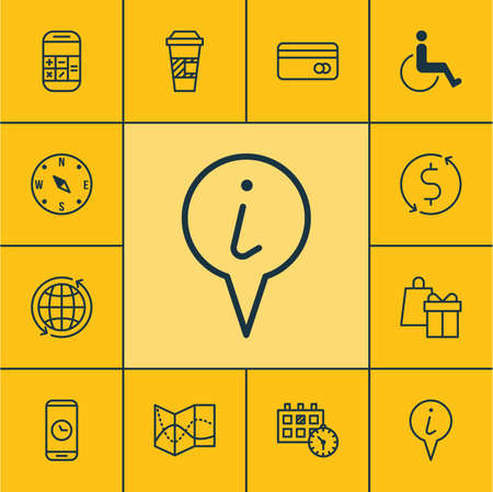 paralyzed: Set Of Travel Icons On Road Map, Plastic Card And Accessibility Topics. Editable Vector Illustration. Includes Debit, Paralyzed, Gift And More Vector Icons. Illustration