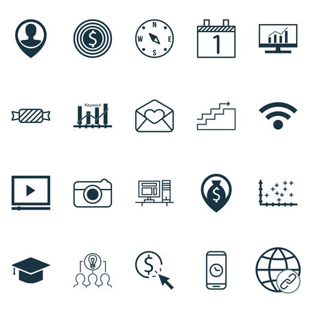 Set Of 20 Universal Editable Icons. Can Be Used For Web, Mobile And App Design. Includes Icons Such As PPC, Video Player, Money Navigation And More. Illustration