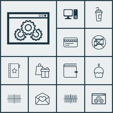 Set di 12 icone universali modificabili. Può essere usato per Web, Mobile e App Design. Include icone come Wallet, Schema quadrato, Spettacolo sito web e altro. Archivio Fotografico - 65055199