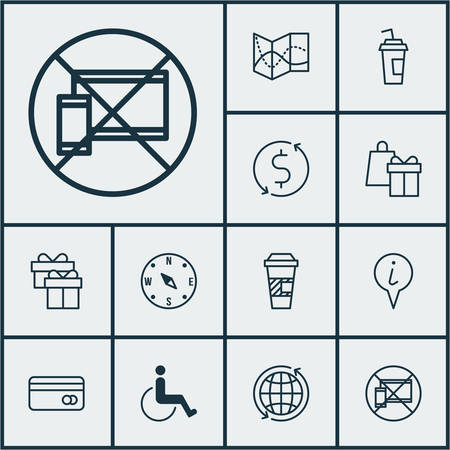 infirm: Set Of Airport Icons On World, Drink Cup And Present Topics. Editable Vector Illustration. Includes World, Box, Exchange And More Vector Icons. Illustration