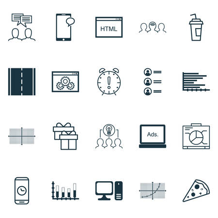 balance sheet: Set Of 20 Universal Editable Icons. Can Be Used For Web, Mobile And App Design. Includes Icons Such As Digital Media, Coaching, Website Performance And More. Illustration