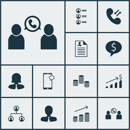 the applicant: Set Of Management Icons On Job Applicants, Business Deal And Successful Investment Topics. Editable Vector Illustration. Includes Mobile, Male, Career And More Vector Icons.