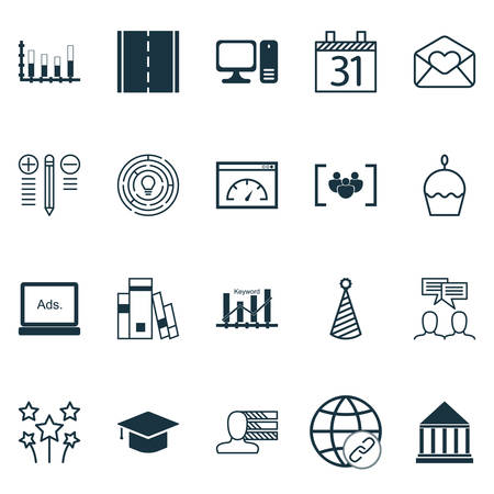 segmented: Set Of 20 Universal Editable Icons. Can Be Used For Web, Mobile And App Design. Includes Icons Such As Library, Graduation, Segmented Bar Graph And More.