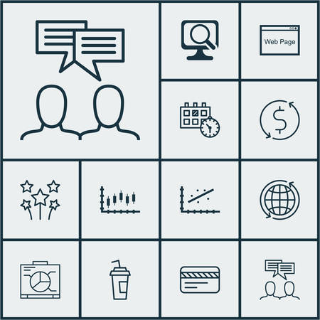 Set Of 12 Universal Editable Icons. Can Be Used For Web, Mobile And App Design. Includes Icons Such As Festive Fireworks, Drink Cup, Analytics And More.