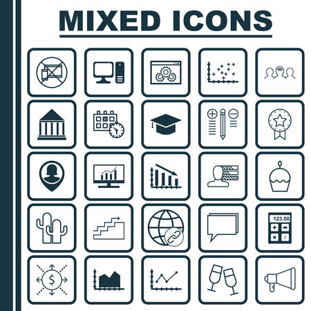 creative potential: Set Of 25 Universal Editable Icons. Can Be Used For Web, Mobile And App Design. Includes Icons Such As Growth, Present Badge, Desktop Computer And More. Illustration