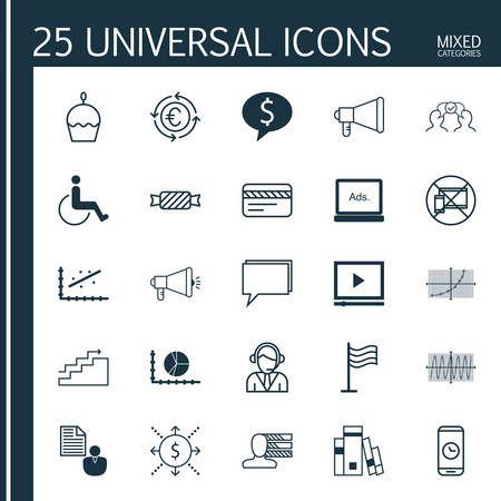 cosinus: Set Of 25 Universal Editable Icons. Can Be Used For Web, Mobile And App Design. Includes Icons Such As Announcement, Cosinus Diagram, Business Deal And More. Illustration