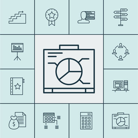 project charter: Set Of Project Management Icons On Computer, Personal Skills And Board Topics. Editable Vector Illustration. Includes Investment, Personality, Finance And More Vector Icons.