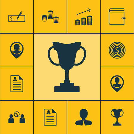 profit celebration: Set Of Management Icons On Employee Location, Bank Payment And Business Goal Topics. Editable Vector Illustration. Includes Female, Male, Employee And More Vector Icons. Illustration