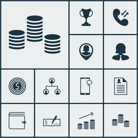 Ensemble d'icônes de gestion sur la messagerie, femme d'affaires et des données de données cellulaires. Illustration vectorielle modifiable. Inclut la femelle, le portefeuille, le trophée et plus d'icônes de vecteur.