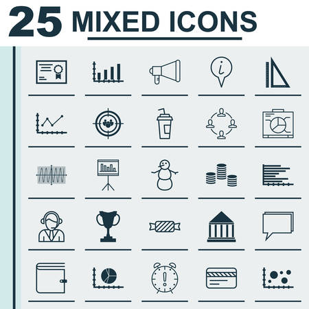 Set Of 25 Universal Editable Icons. Can Be Used For Web, Mobile And App Design. Includes Icons Such As Winter, Collaboration, Circle Graph And More.