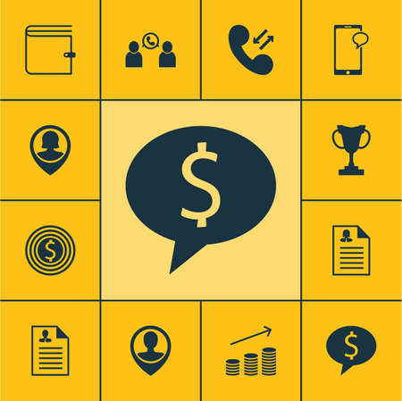 ability to speak: Set Of Management Icons On Curriculum Vitae, Cellular Data And Business Deal Topics. Editable Vector Illustration. Includes Goal, Pin, Purse And More Vector Icons.
