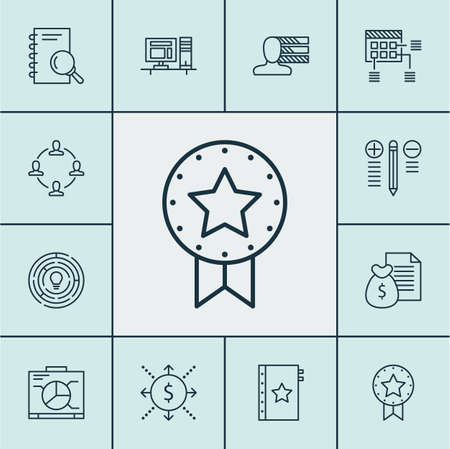 Set Of Project Management Icons On Innovation, Analysis And Collaboration Topics. Editable Vector Illustration. Includes Badge, Right, Report And More Vector Icons.
