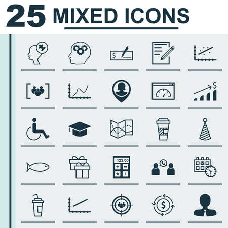 infirm: Set Of 25 Universal Editable Icons. Can Be Used For Web, Mobile And App Design. Includes Icons Such As Road Map, Successful Investment, Birthday Hat And More.
