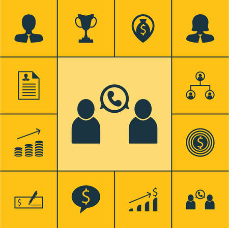 sales executive: Set Of Management Icons On Phone Conference, Coins Growth And Business Deal Topics. Editable Vector Illustration. Includes Conference, Check, Profile And More Vector Icons.