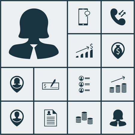 ability to speak: Set Of Management Icons On Money Navigation, Female Application And Pin Employee Topics. Editable Vector Illustration. Includes Coins, Female, Pin And More Vector Icons. Illustration