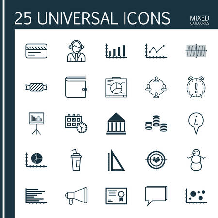 briefing: Set Of 25 Universal Editable Icons. Can Be Used For Web, Mobile And App Design. Includes Icons Such As Certificate, Presentation, Info Pointer And More.