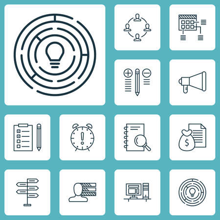 project charter: Set Of Project Management Icons On Schedule, Personal Skills And Opportunity Topics. Editable Vector Illustration. Includes Personal, Reminder, Brainstorming And More Vector Icons. Illustration