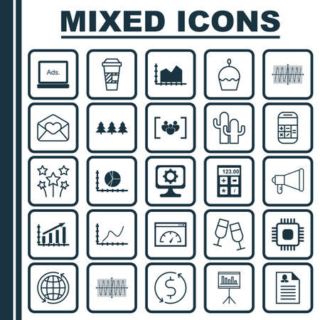 microprocessor: Set Of 25 Universal Editable Icons. Can Be Used For Web, Mobile And App Design. Includes Icons Such As Profit Graph, Cacti, Cosinus Diagram And More.