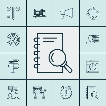 Set Of Project Management Icons On Board, Schedule And Decision Making Topics. Editable Vector Illustration. Includes Brainstorming, Idea, Chart And More Vector Icons. Illustration