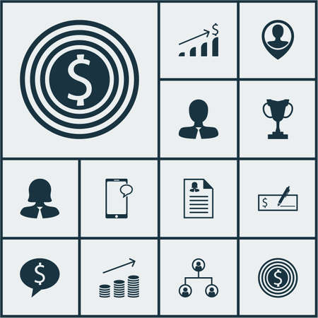 phone money: Set Of Human Resources Icons On Employee Location, Successful Investment And Female Application Topics. Editable Vector Illustration. Includes Phone, Money, Cup And More Vector Icons. Illustration