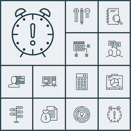 personality development: Set Of Project Management Icons On Personal Skills, Report And Innovation Topics. Editable Vector Illustration. Includes Solution, Analysis, Workspace And More Vector Icons. Illustration