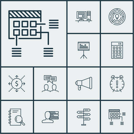 project charter: Set Of Project Management Icons On Analysis, Money And Computer Topics. Editable Vector Illustration. Includes Budget, Time, Computer And More Vector Icons. Illustration