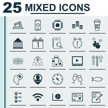 school bills: Set Of 25 Universal Editable Icons. Can Be Used For Web, Mobile And App Design. Includes Icons Such As Education Center, Fishing, SEO Brainstorm And More.
