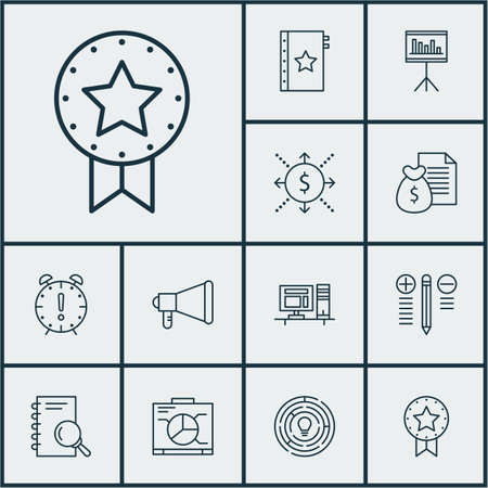 Set Of Project Management Icons On Money, Presentation And Computer