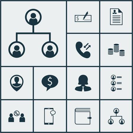 Set Of Hr Icons On Business Deal, l'argent et cellulaire de données Sujets. Editable Vector Illustration. Comprend Wallet, Dollar, Avis et Plus icônes vectorielles.