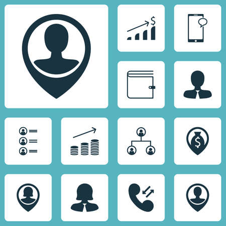 account executives: Set Of Management Icons On Wallet, Cellular Data And Successful Investment Topics. Editable Vector Illustration. Includes Increase, Profile, Structure And More Vector Icons.