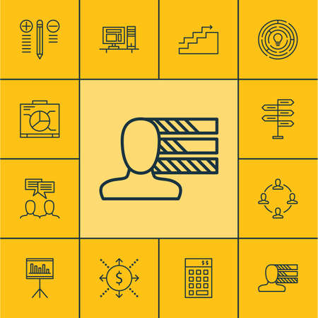 personality development: Set Of Project Management Icons On Personal Skills, Discussion And Growth Topics. Editable Vector Illustration. Includes Personality, Fork, Personal And More Vector Icons.