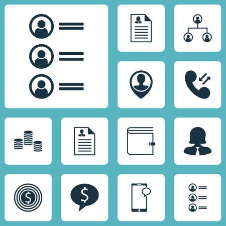 Ensemble d'icônes de ressources humaines sur Business Deal, Wallet et sujets de demandeurs d'emploi. Illustration vectorielle modifiable Comprend avis, succès, profil et plusieurs icônes vectorielles.
