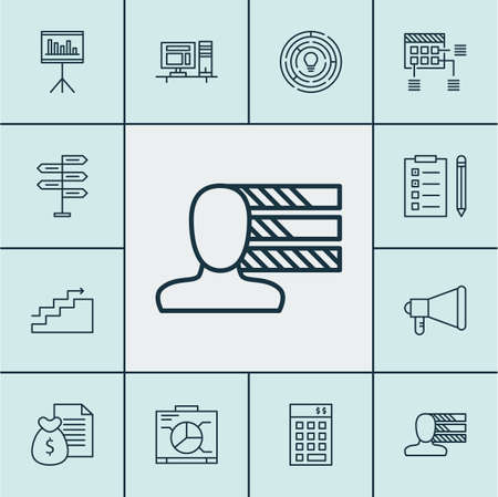 personal decisions: Set Of Project Management Icons On Investment, Growth And Presentation Topics. Editable Vector Illustration. Includes Goal, Computer, Finance And More Vector Icons. Illustration