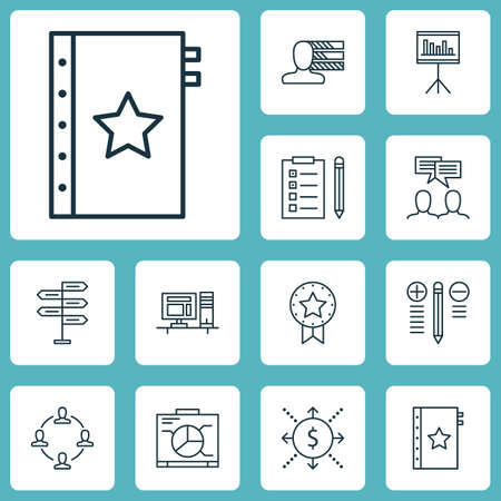 personality development: Set Of Project Management Icons On Present Badge, Decision Making And Board Topics. Editable Vector Illustration. Includes Personal, Personality, Flow And More Vector Icons.